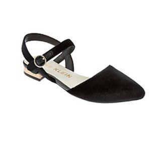 Anne Klein Akodell Black Leather Shimmer Sandal 8